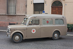 Old italian ambulance. Fiat 1100 (year 1957) exposed at Fiera di San Rocco that hosts historical recalling, and various exposition, on November 6, 2011 in Royalty Free Stock Photos