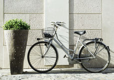 Old Italian bicycle. On sunlight. Ancient buildings Royalty Free Stock Images