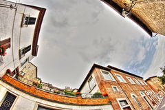 Old italian buildings in HDR - fisheye lens photo Stock Photo