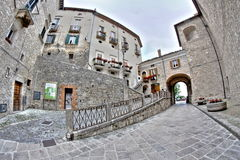 Old italian buildings in HDR - fisheye lens photo Royalty Free Stock Images