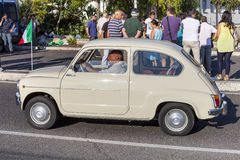 Old italian car. Vintage transportation. Fiat 500 royalty free stock photography