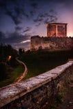 Old italian castle 2. Sunset in italy walking near a old castle stock photo
