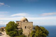 Old Italian church. View of old stone church on sea background, Erice town, Sicily, Italy Royalty Free Stock Photo