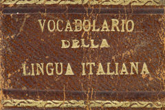 Old italian dictionary closeup. Book Royalty Free Stock Image