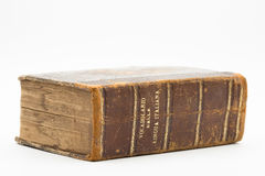Old italian dictionary on white background. Old italian dictionary closeup - book Stock Photography