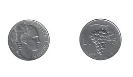 Old italian five lire Royalty Free Stock Images