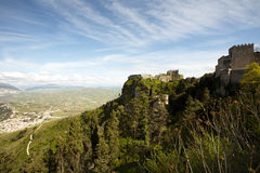 Old Italian fortress. Panoramic view of ancient fortresses of Erice town, Sicily, Italy Stock Photography