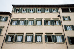 Old Italian Hotel with Green Shutters Stock Photography