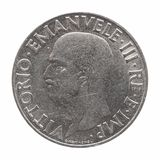Old Italian Lira with Vittorio Emanuele III King isolated over white. Old Italian 1 Lira coin with Victor Emmanuel III King and Emperor (Vittorio Emanuele III Re Stock Images