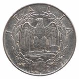 Old Italian Lira isolated over white. Old Italian Lira 2 Lire coin, circa 1940 isolated over white background Royalty Free Stock Photos