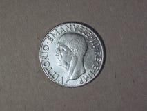 Old Italian Lira with Vittorio Emanuele III King. Old Italian 1 Lira coin with Vittorio Emanuele III King and Imperator, circa 1940 Stock Images