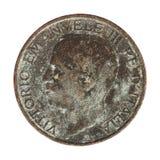Old Italian Lira with Vittorio Emanuele III King isolated isolated over white. Old Italian 1 Lira coin with Vittorio Emanuele III King and Imperator, circa 1936 Stock Images