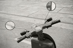Old italian scooter handlebar with speedometer Stock Photography