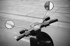 Old Italian scooter handlebar with speedometer Stock Photo