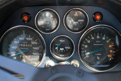 Old italian sports car gauges Royalty Free Stock Photography