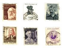 Old italian stamps (famous men) Royalty Free Stock Photography