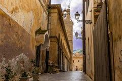 Old Italian street in Sicily. Sicily village street scene royalty free stock image