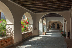 Old italian village. Arcade in the italian alps medieval ancient village Royalty Free Stock Image