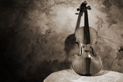 Old italian violin on a wall background Royalty Free Stock Photos