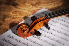 Old italian violin witn score Royalty Free Stock Photo