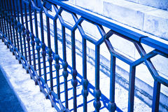Old italian wrought iron railing with geometric designs - toned Stock Photo