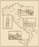 Old Italy map Stylized ink drawing Stock Images