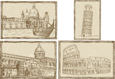 Old Italy map Stylized ink drawing Royalty Free Stock Image