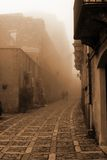 Old Italy ,Sicily, highlands, fog in Eriche city Royalty Free Stock Images