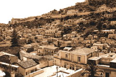 Old Italy ,Sicily, highlands, fog in Modica city Stock Images