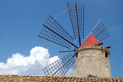 Old Italy ,Sicily, windmill near Trapani-city Stock Photo