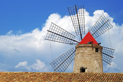 Old Italy ,Sicily, windmill at Trapani Royalty Free Stock Photo