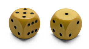 Old ivory dice (clipping path) Stock Image