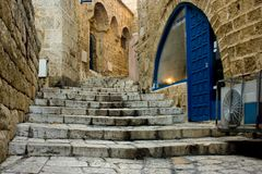 Old Jaffa. Jaffa is one of the most ancient port cities in the world.Tradition says Jaffa was founded by Japheth, son of Noah, after the Flood. Andromeda Rock Stock Photography