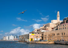 Old Jaffa port. Israel. From left in the background is seen in Tel Aviv Stock Photography
