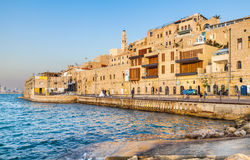 Old Jaffa Port and Tel-Aviv. JAFFA ,ISRAEL - MARCH 24: View of an old Jaffa City on MARCH 24, 2014. Jaffa it`s the oldest part of Tel Aviv Stock Photo