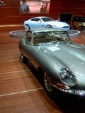 Old Jag, New Jag. An old Jaguar E-Type and the new XK at the Geneva Autoexpo in occasion of the presentation of Jaguar's last coupe at the swiss event Royalty Free Stock Image