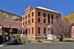 Old Jail and Museum in Silverton, Colorado. The small town of Silverton, Colorado in the San Juan Mountains is popular among tourists.  The old jail, now a Royalty Free Stock Photos