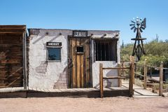 Tourist trap, jail and sheriffs office. Old jail and sheriffs office outside of Apache Junction, Arizona stock image