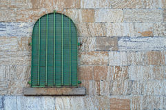 Old jail window, ancient cell medieval gothic brick dungeon Stock Photos