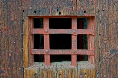 Jail House Door. The old jailhouse door in Cimarron, New Mexicois pretty sturdy Stock Photos
