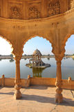 Old jain cenotaphs on lake in jaisalmer india Royalty Free Stock Images