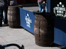 Old Jameson Irish Whisky barrels in Dublin, Ireland. Outside an Irish pub in Temple Bar, Dublin city Royalty Free Stock Photos