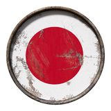 Old Japan flag. 3d rendering of a Japan flag over a rusty metallic plate. Isolated on white background Royalty Free Stock Photo