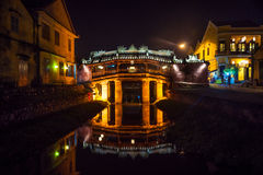 Old japanese bridge at night in Hoi An Stock Image