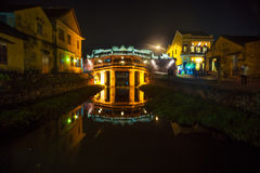 Old japanese bridge at night in Hoi An Stock Photography