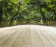 Old Japanese bridge. Old Japanese stone bridge at the Meiji Shrine in Tokyo Stock Photos