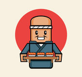 Old japanese chef serve sushi in traditional suit. Old japanese chef serve salmon sushi in traditional suit with wooden board tray for customer Royalty Free Stock Image