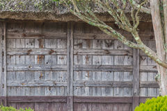 Old Japanese house wood panel wall Stock Photo