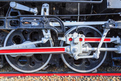 Old Japanese locomotive wheels close up. Repainted Royalty Free Stock Photos