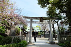Old Japanese pay respect at Ushima Shrine in Tokyo, near Sumida River Royalty Free Stock Image